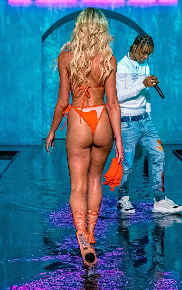 Orange Mesh Panel Bikini Bottoms 2