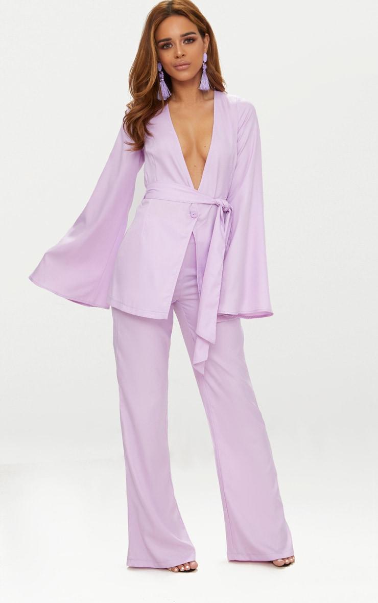 Petite Lilac Woven Belt Detail Blazer 5