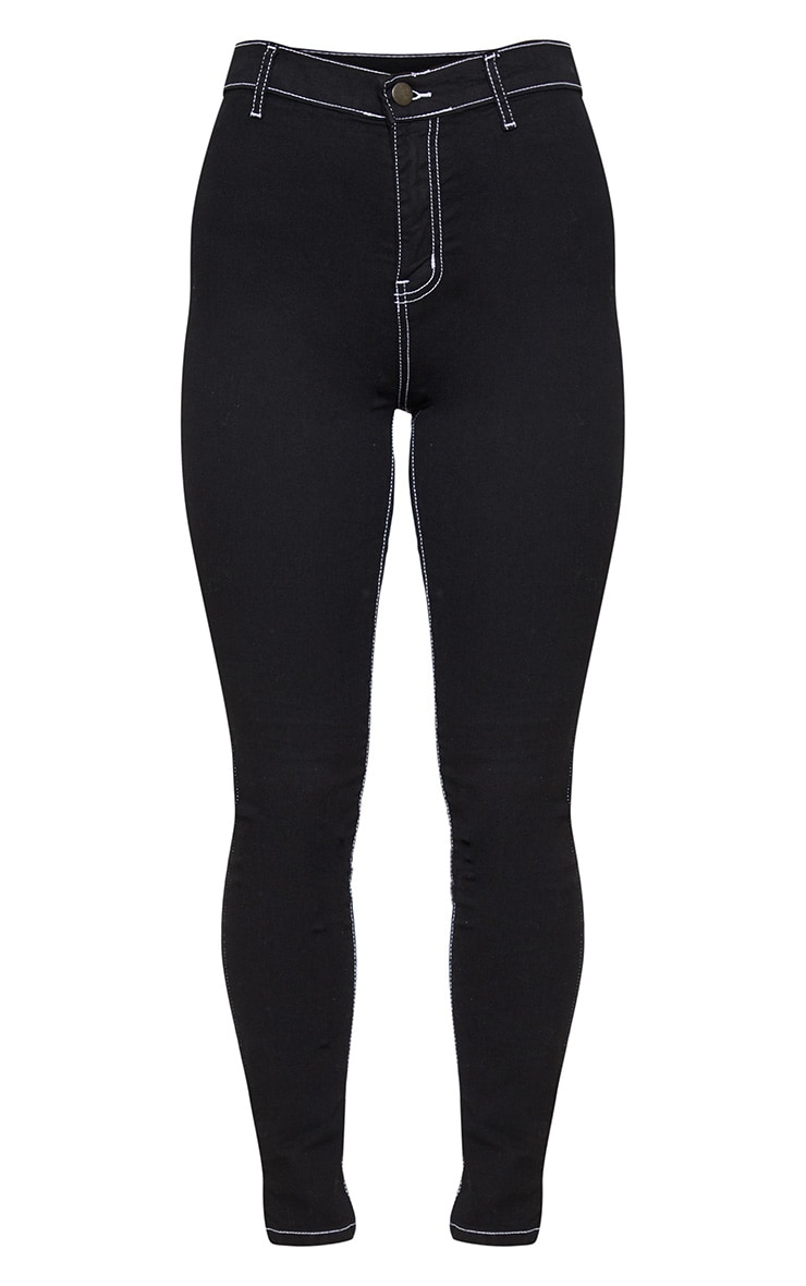 Black And White Stitch Disco Skinny Jeans 3