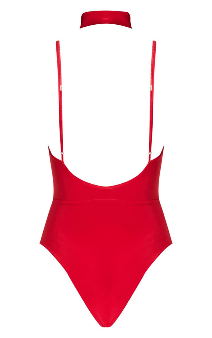 Laula Red Slinky Strap Front Thong Bodysuit 4