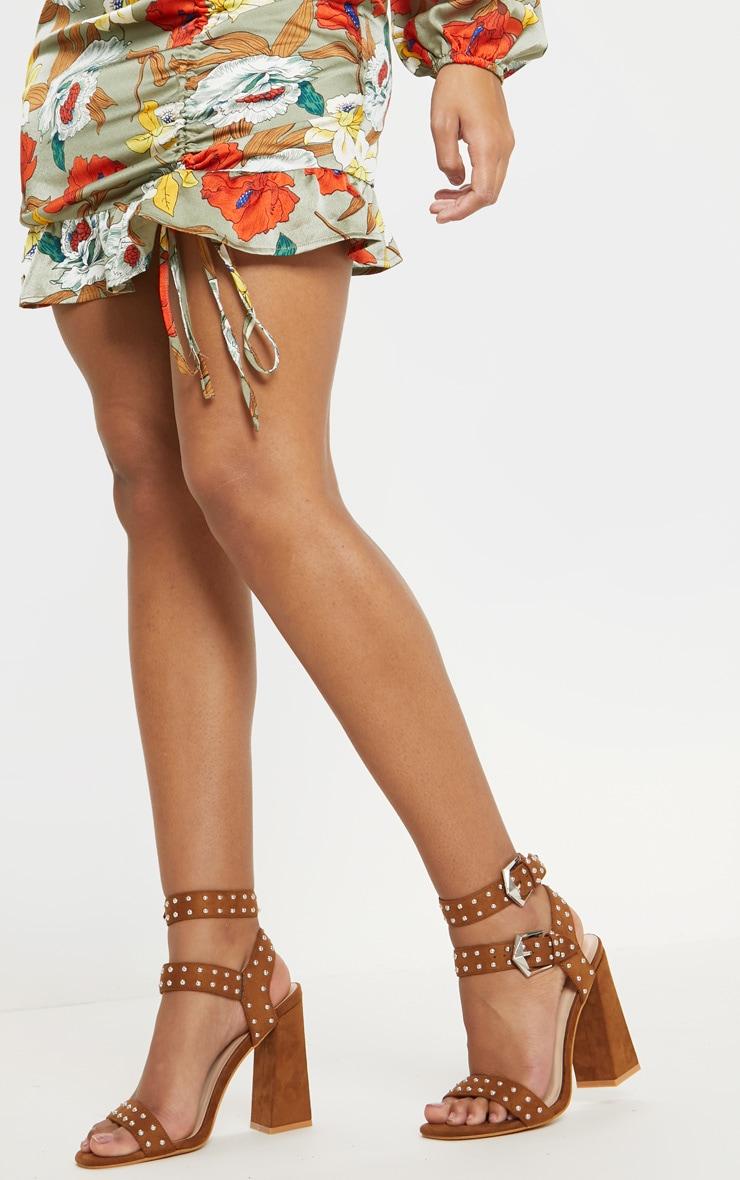 Tan Buckle Detail Studded Block Heel Sandal 1