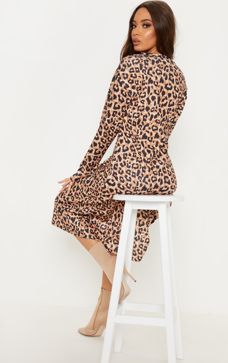 Brown Leopard Print Midi Jumper Dress 2