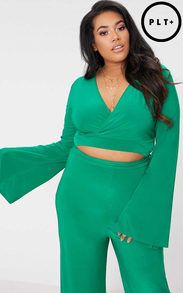 Plus Green Slinky Wrap Waist Crop Top 1
