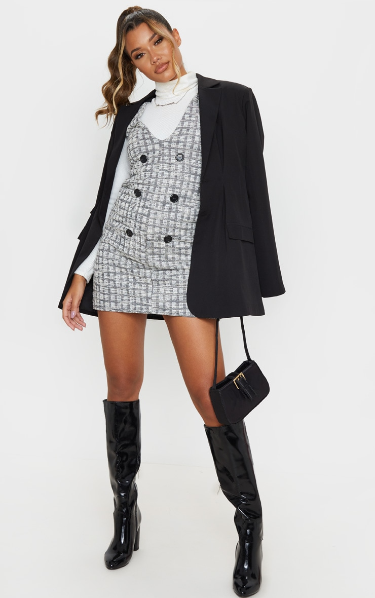 Black Tweed Button Front Shift Dress 4