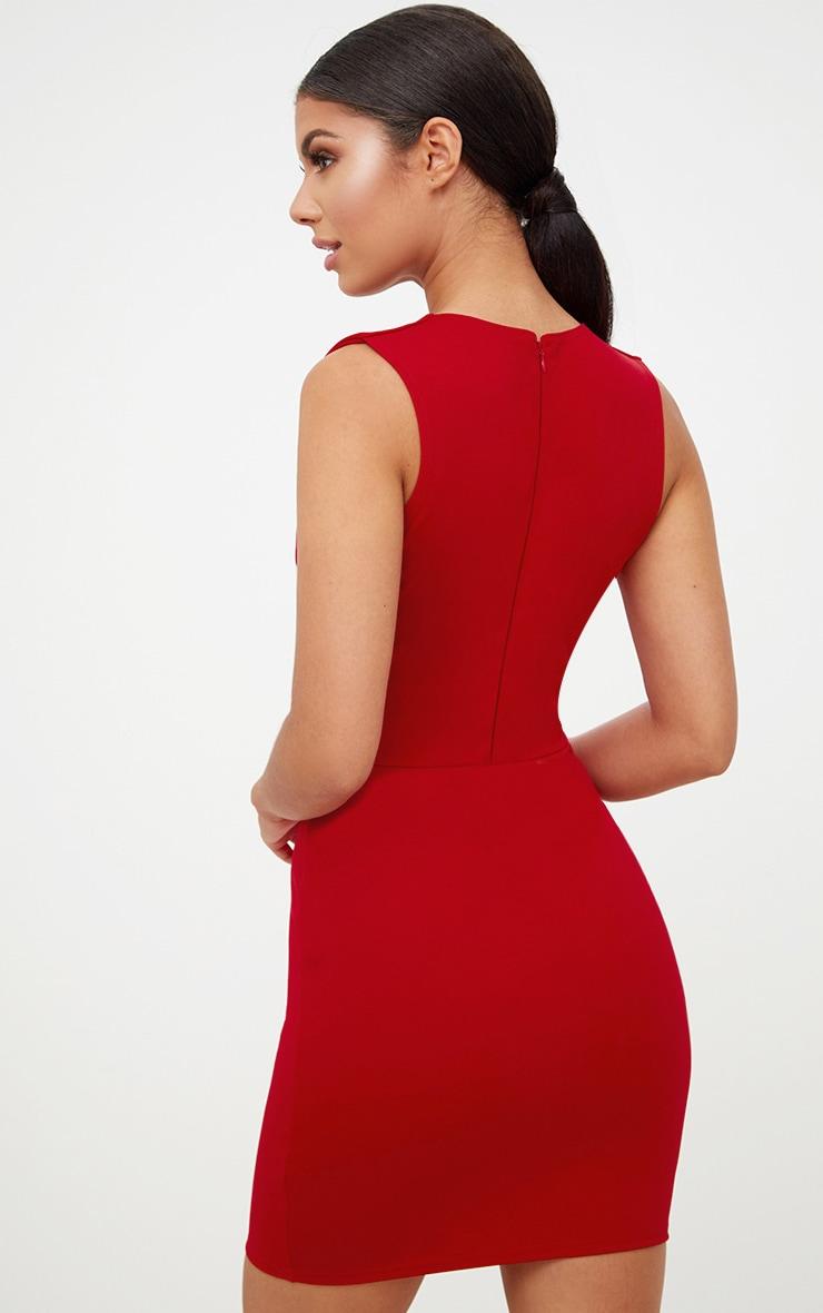 Red Extreme Plunge Sleeveless Bodycon Dress 2
