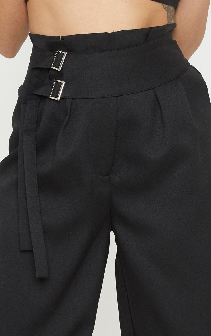 Petite Black Paperbag Pleated Wide Leg Pants 5