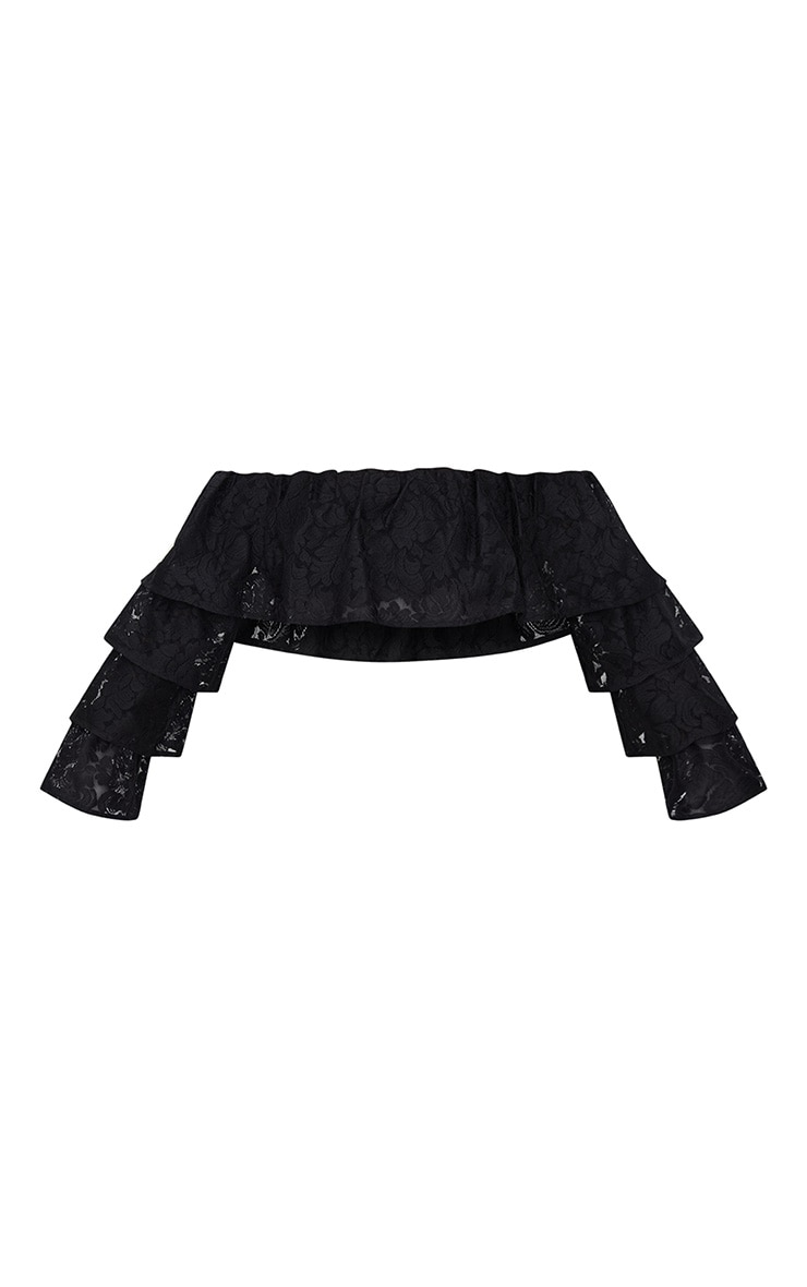 Black Tiered Lace Frill Crop Top 3