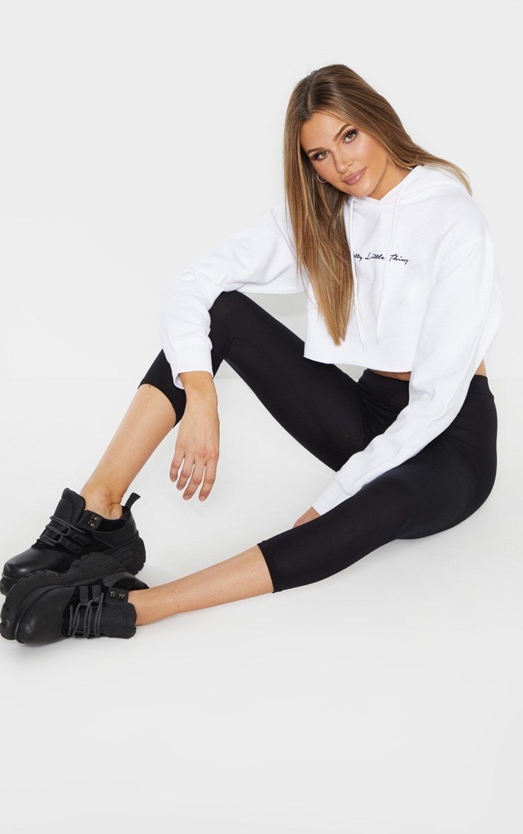 PRETTYLITTLETHING Tall White Embroidered Crop Hoodie  4