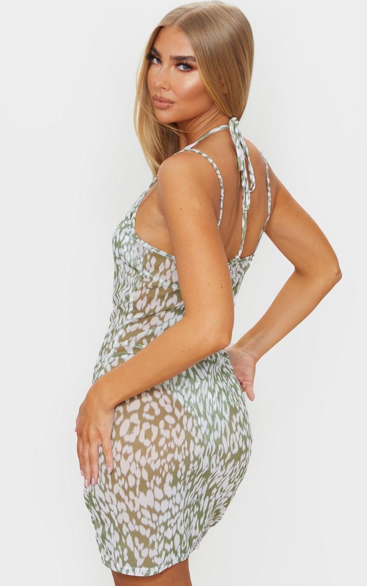 Green Blurred Cheetah Mesh Beach Dress 2