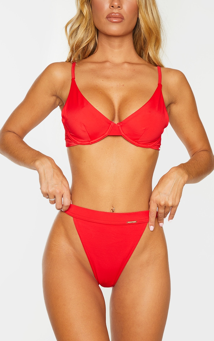Red Recycled Fabric High Leg Elasticated Bikini Bottoms 1