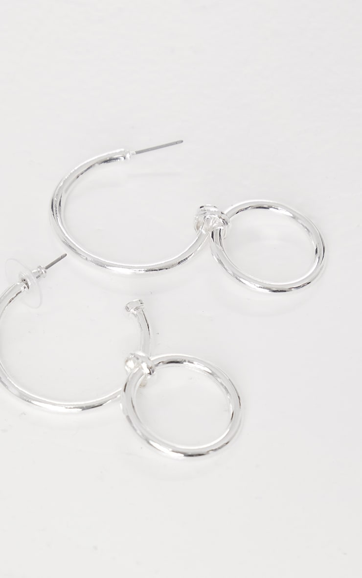Silver Double Hoop Earrings 3