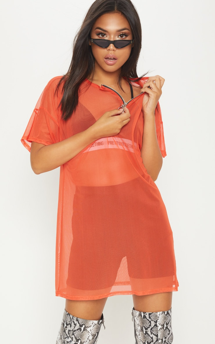 Bright Orange Mesh Zip Front T Shirt Dress 1