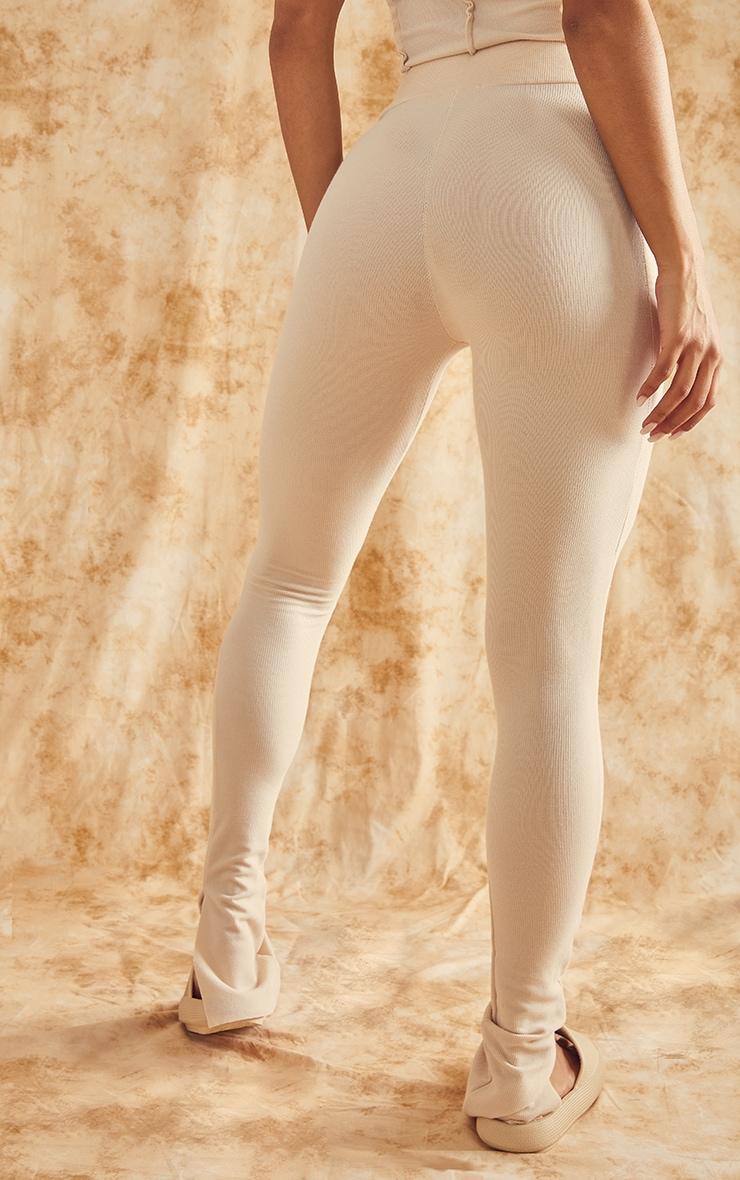 RECYCLED Beige Raw Edge Rib Split Hem Leggings 3