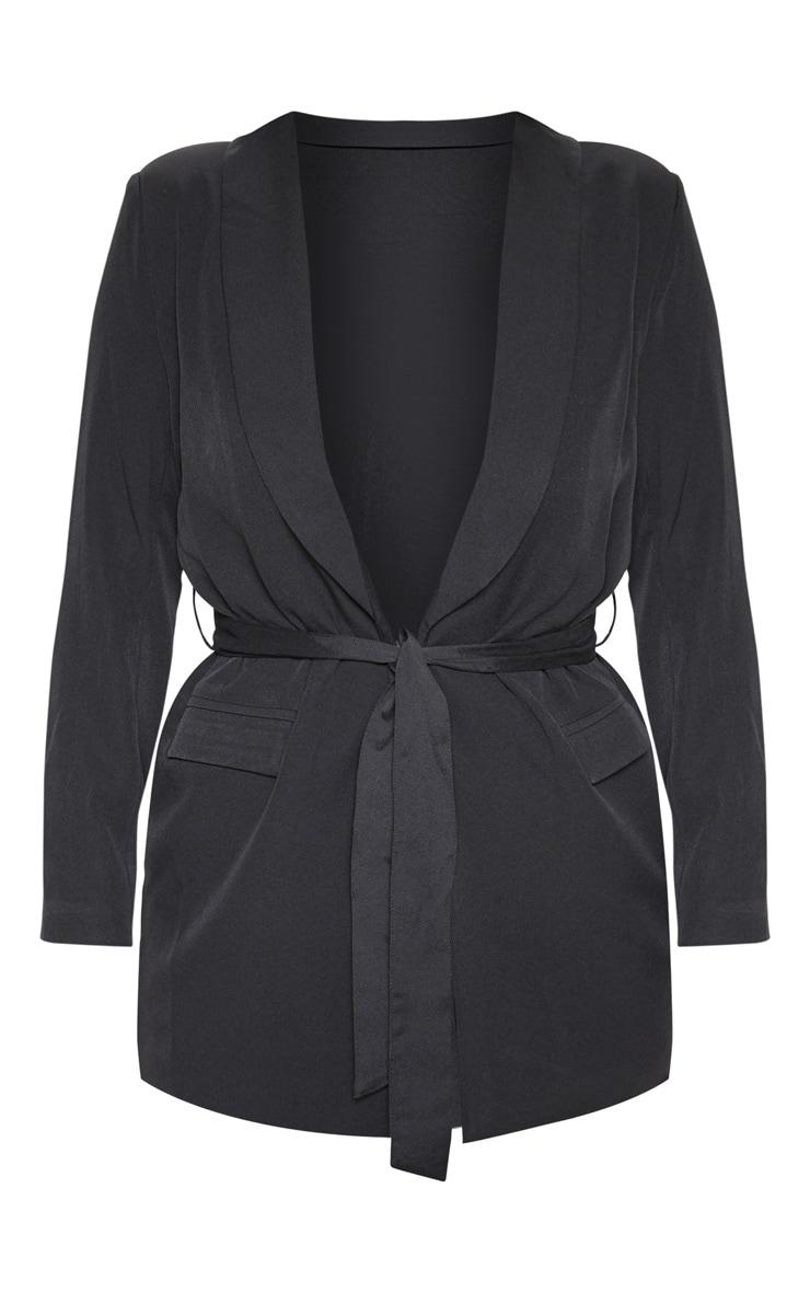 Black Belted Longline Woven Blazer    3