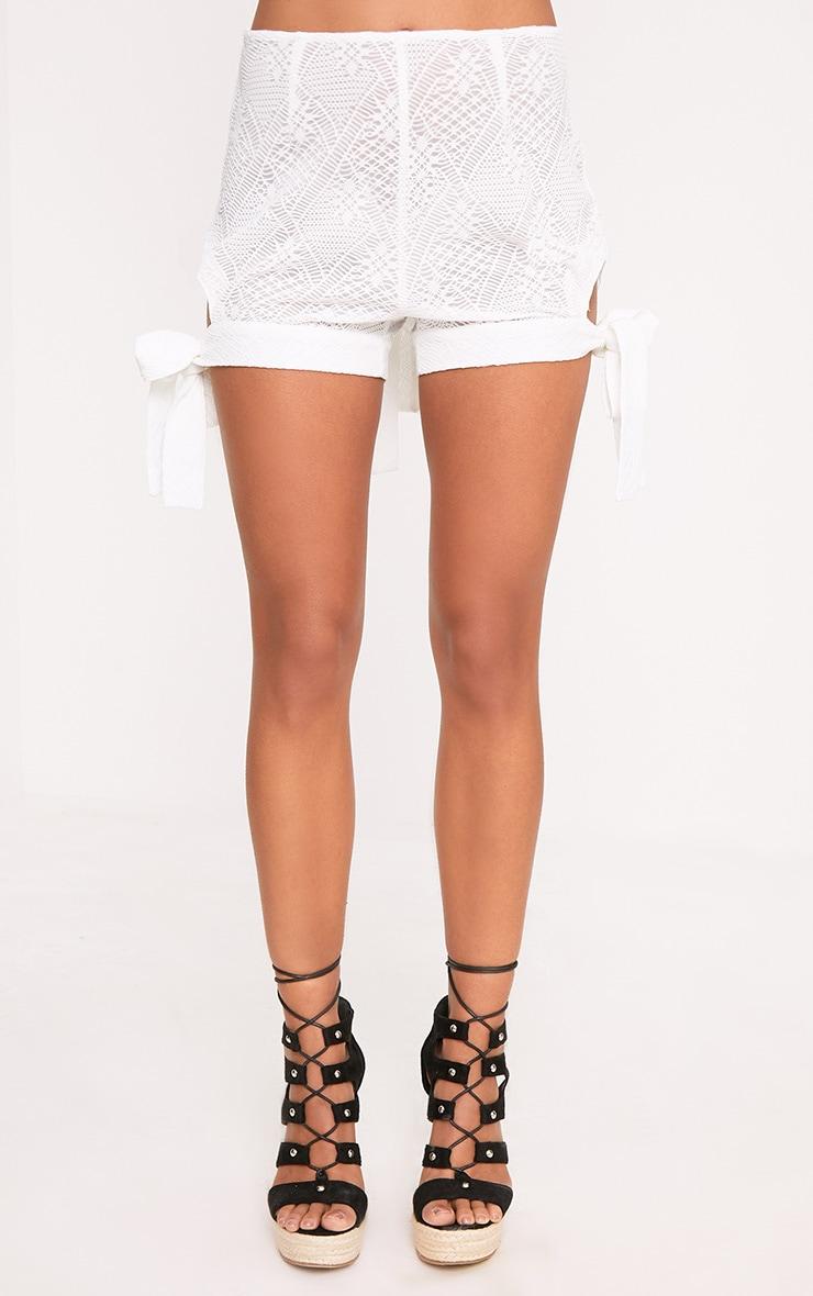 White Cut Out Tie Hem Shorts 2