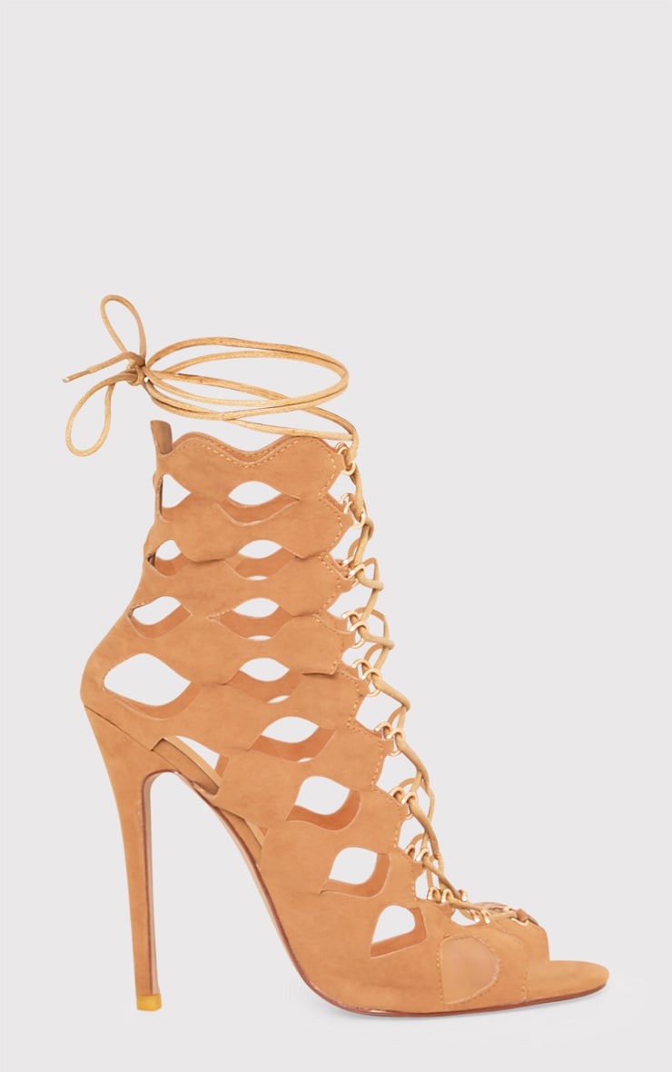 Chey Camel Geometric Cut Out Lace Up Heels 2