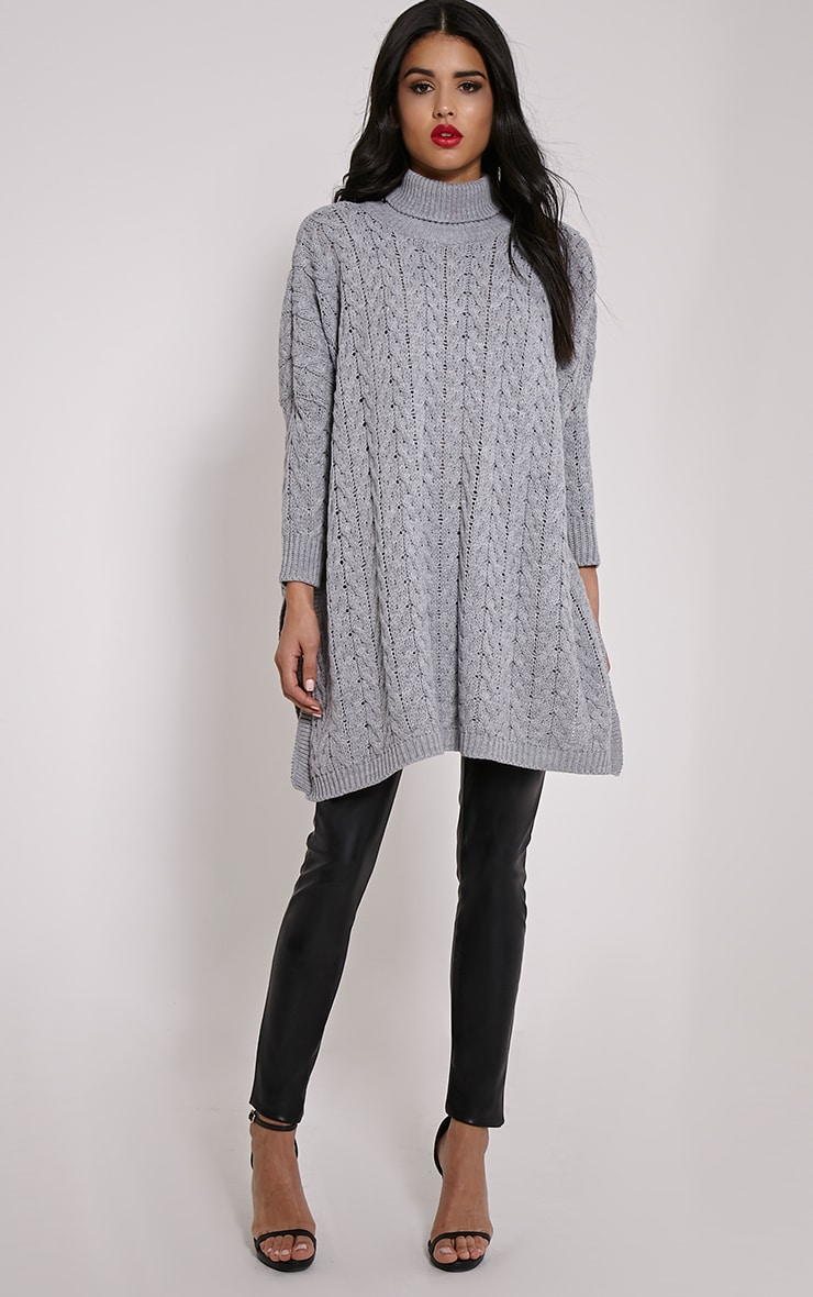 Juju Light Grey Cable Knit Oversized Jumper 3