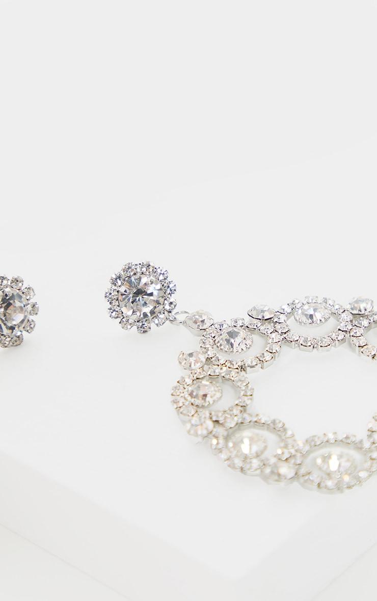 Silver Diamante Flower Circle Door Knocker Earring 3