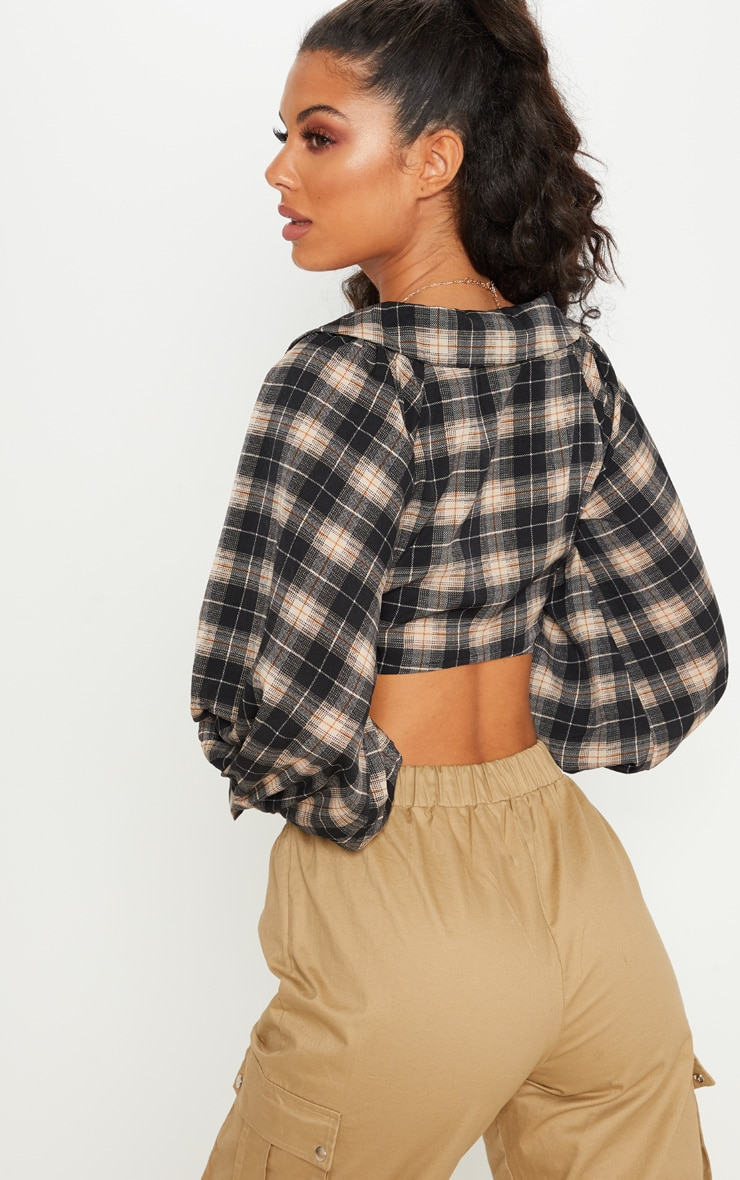 Black Check Tie Front Shirt 2