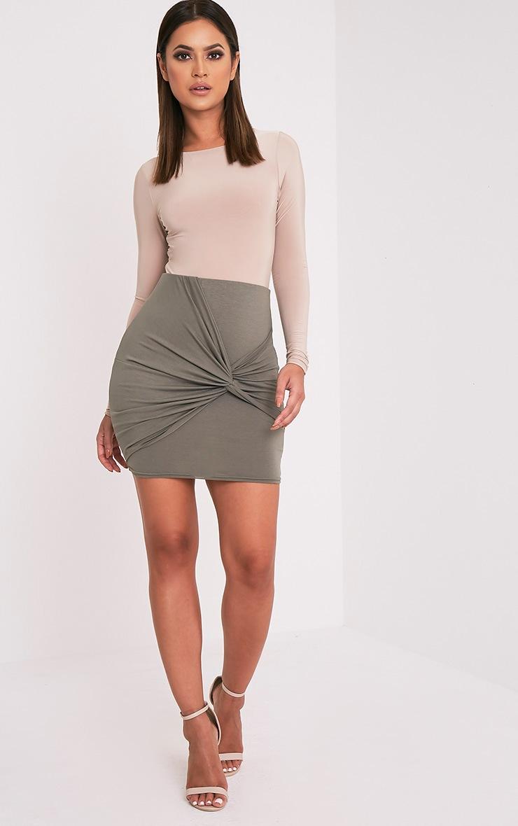 Alayna Khaki Knotted Jersey Mini Skirt 6
