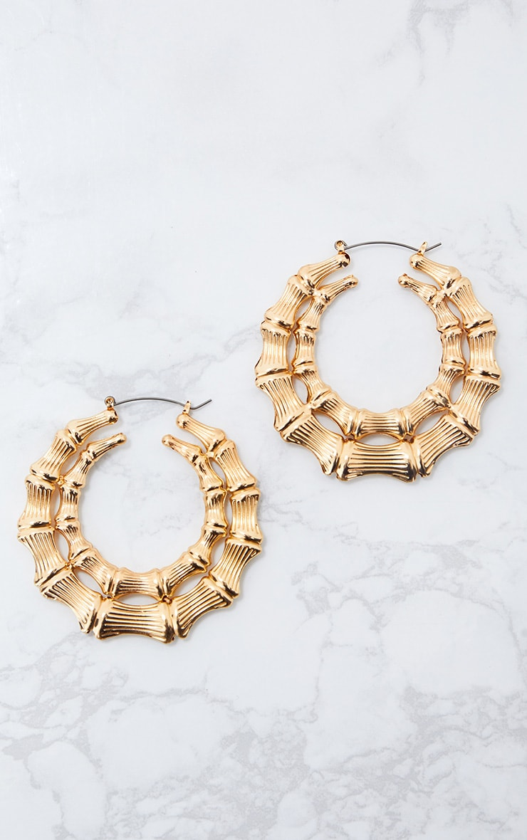 gold double creole hoop earrings prettylittlething. Black Bedroom Furniture Sets. Home Design Ideas