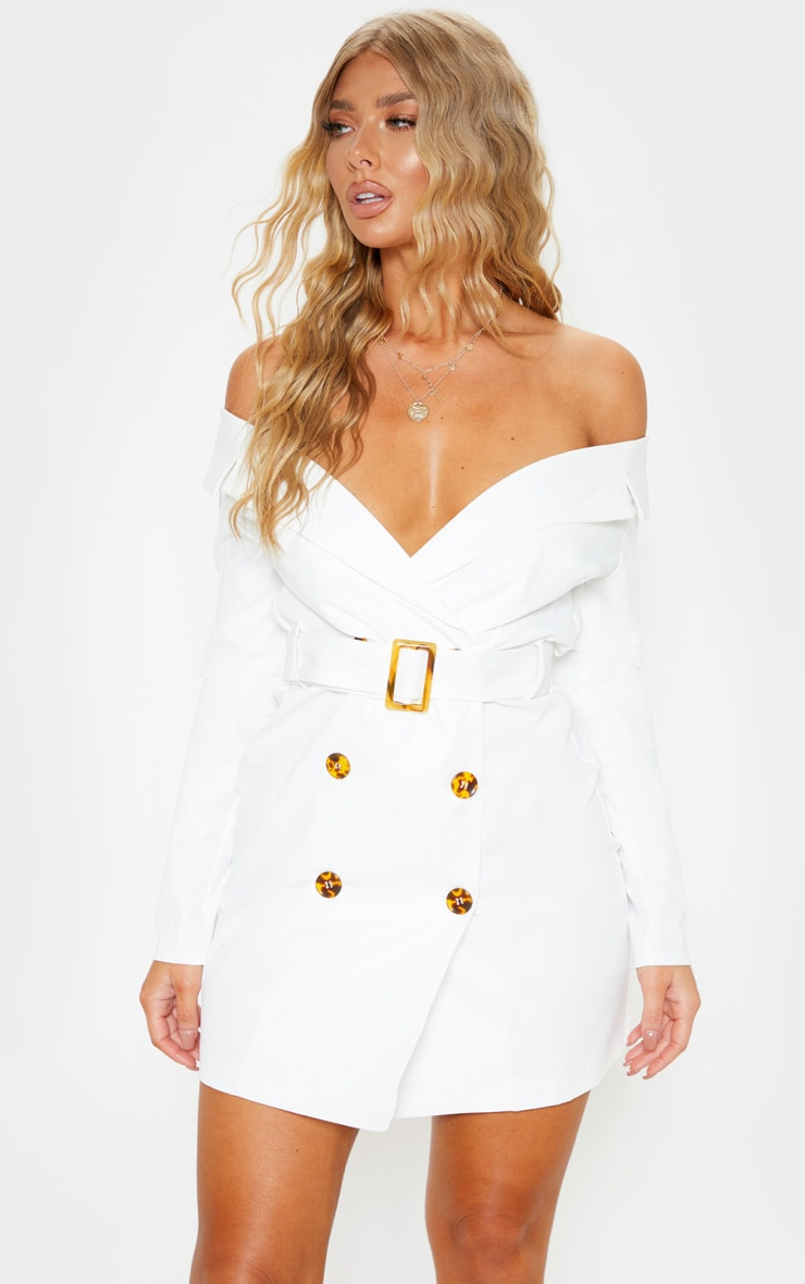 White Bardot Tortoise Button Belted Blazer Dress 1