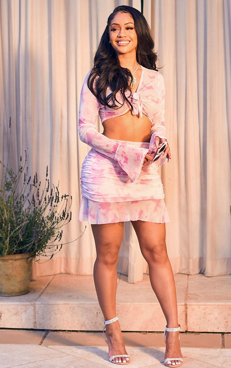 Baby Pink Butterfly Print Ruffle Hem Mini Skirt 2