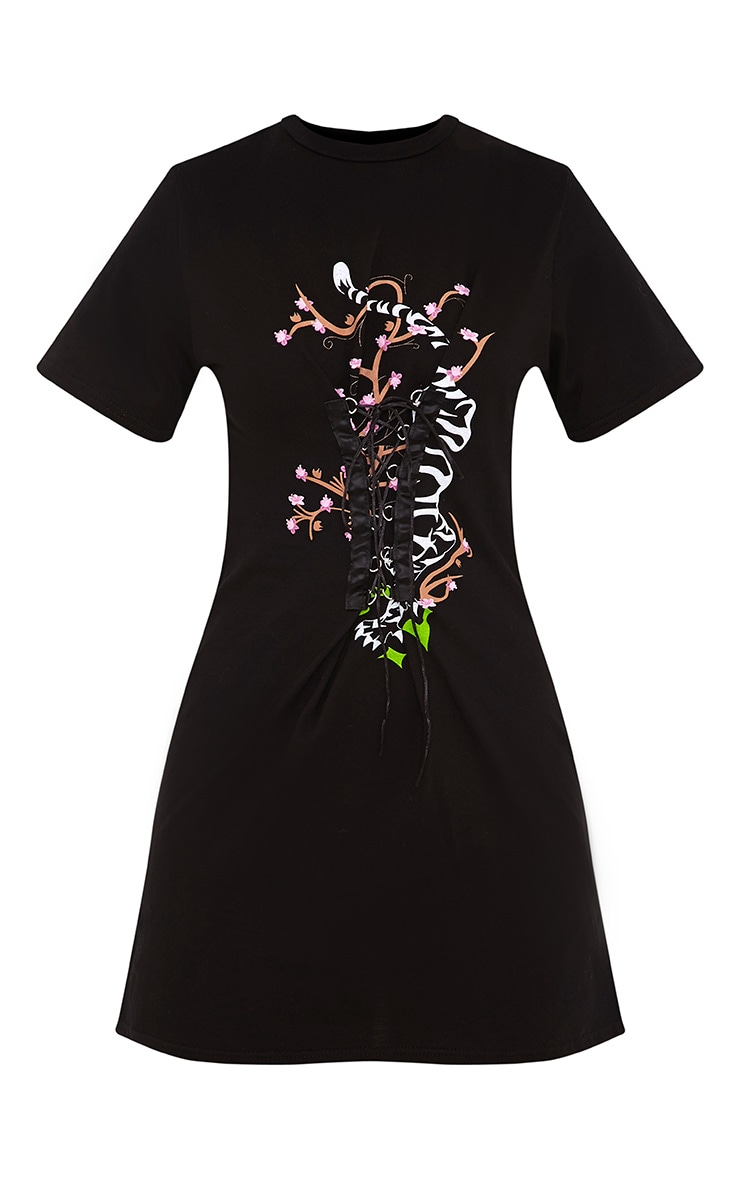 Tiger Print Corset T Shirt Dress Black 3