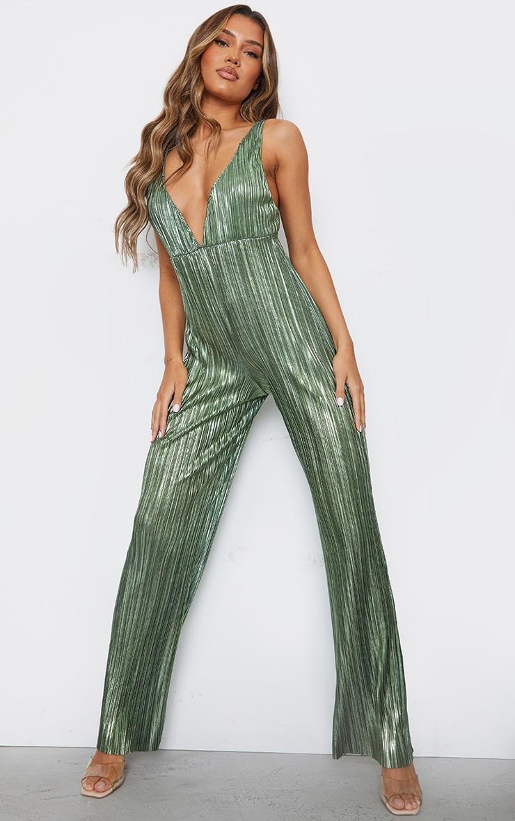 Green Metallic Plisse Plunge Wide Leg Jumpsuit 1