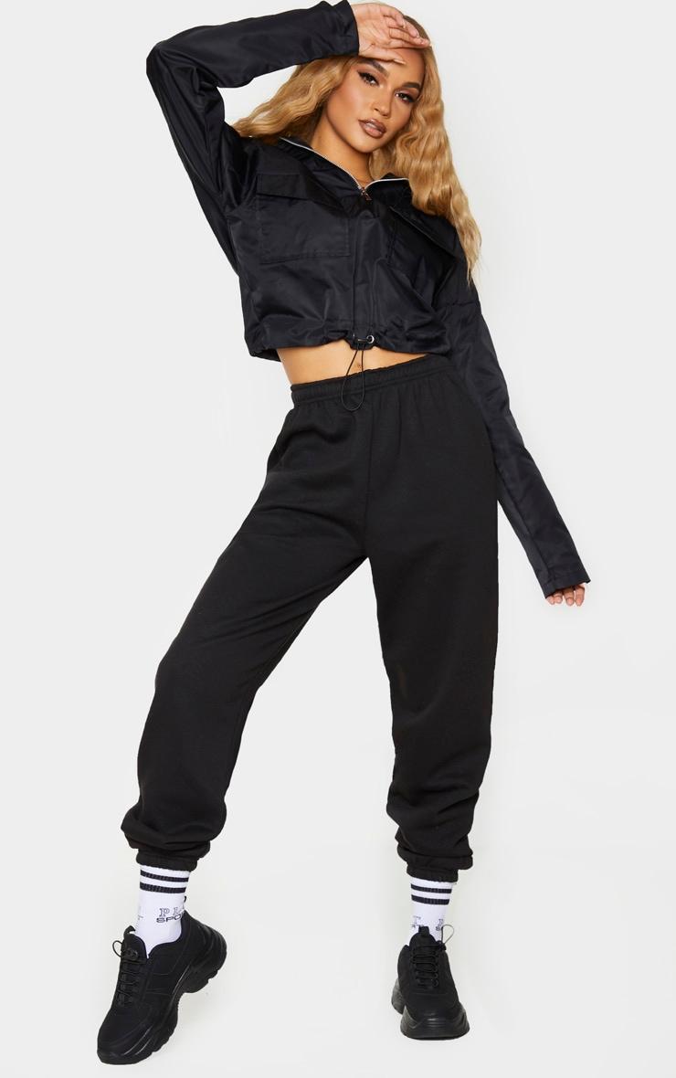 Black Shell Hooded Toggle Hem Jacket 3