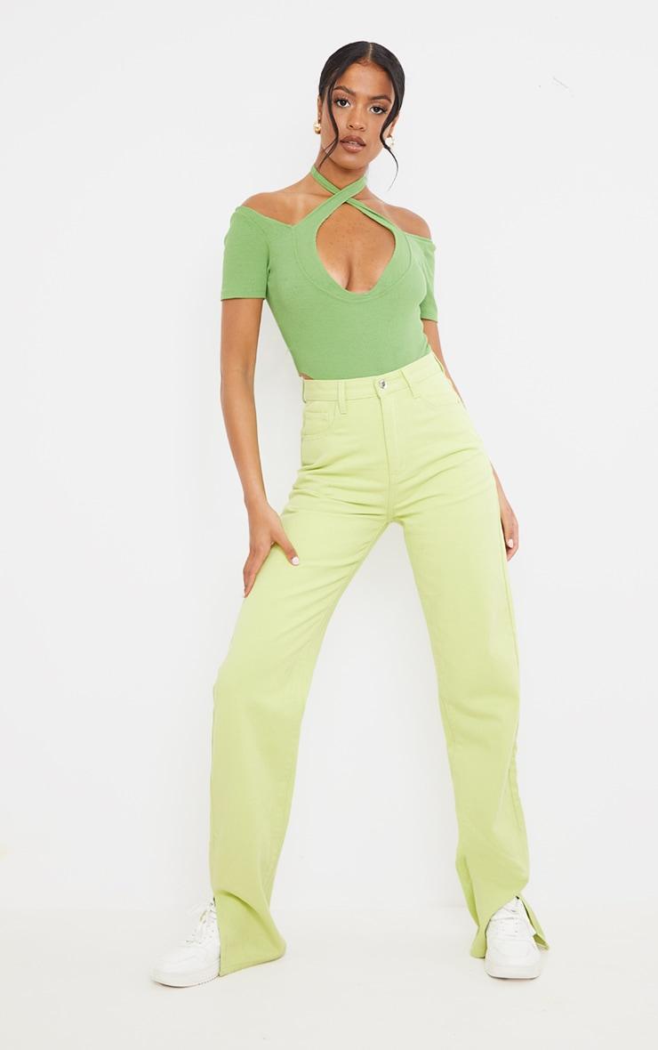 Tall Lime Washed Split Hem Denim Jeans 1