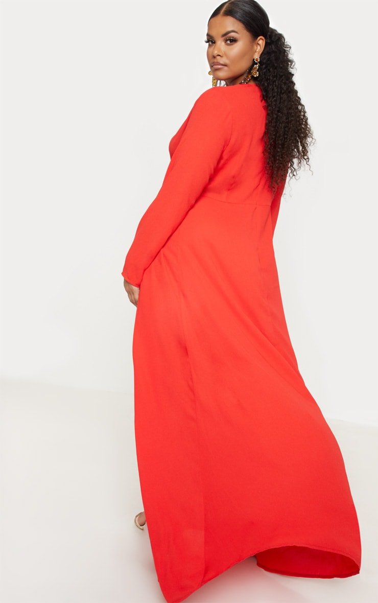 Plus Red Twist Front Maxi Dress 2