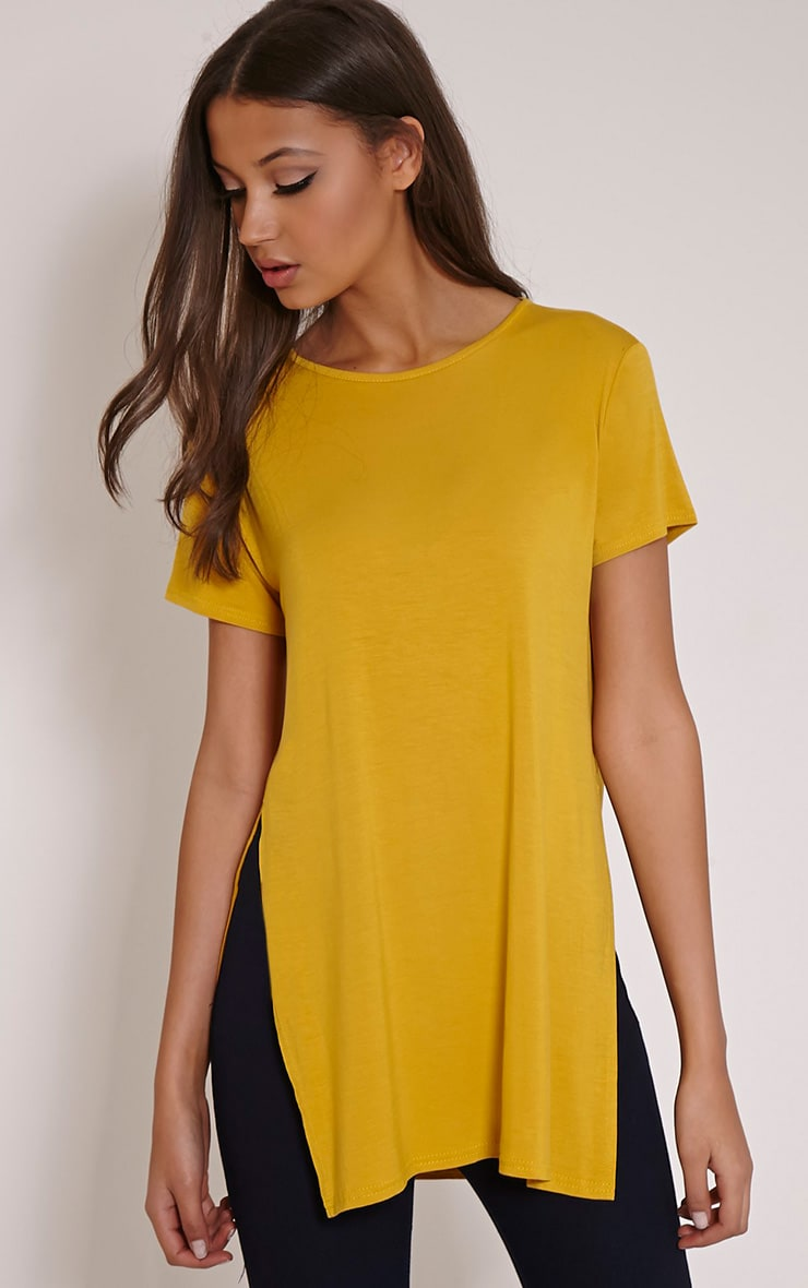 Basic Mustard Side Split T-Shirt 1