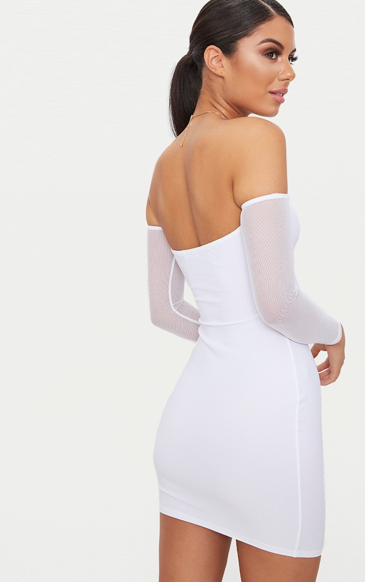 White Bardot Mesh Sleeve Bodycon Dress 2