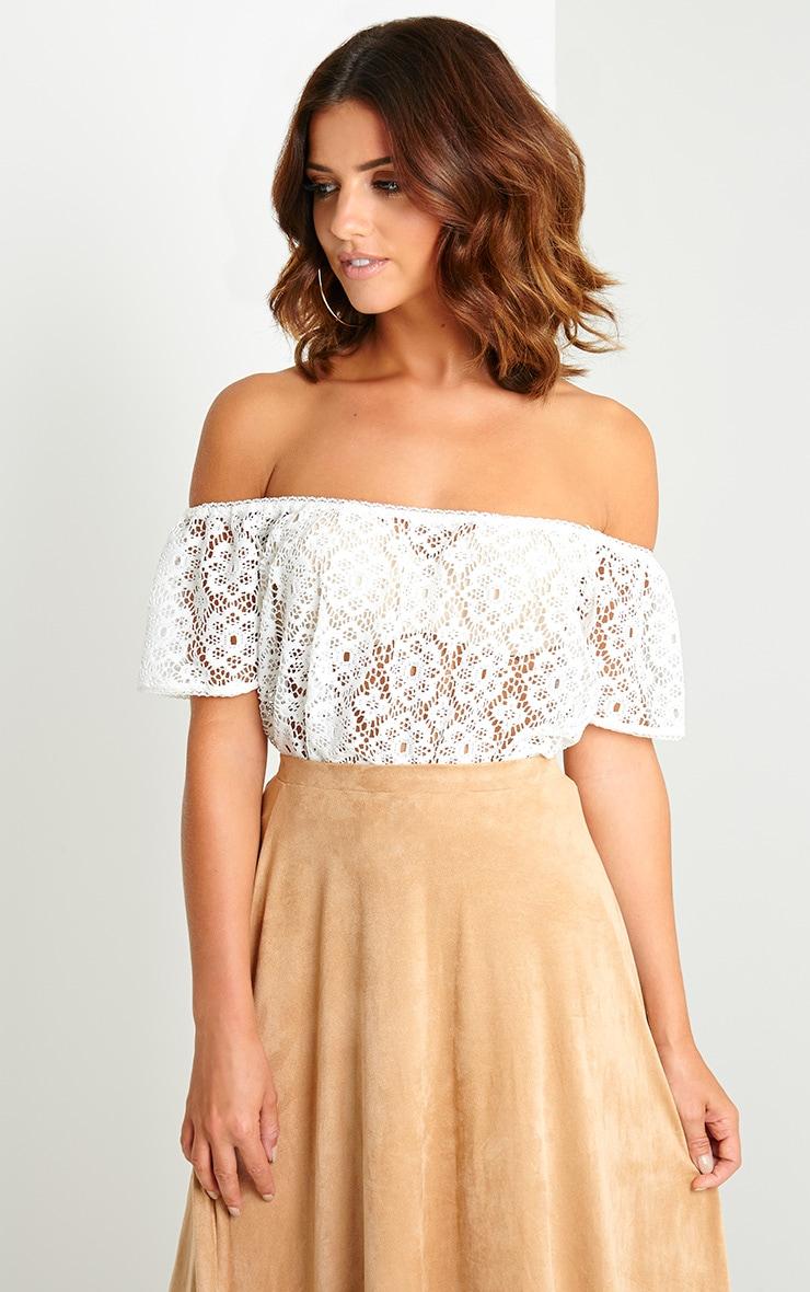 Saffron Cream Crochet Bardot Top 1