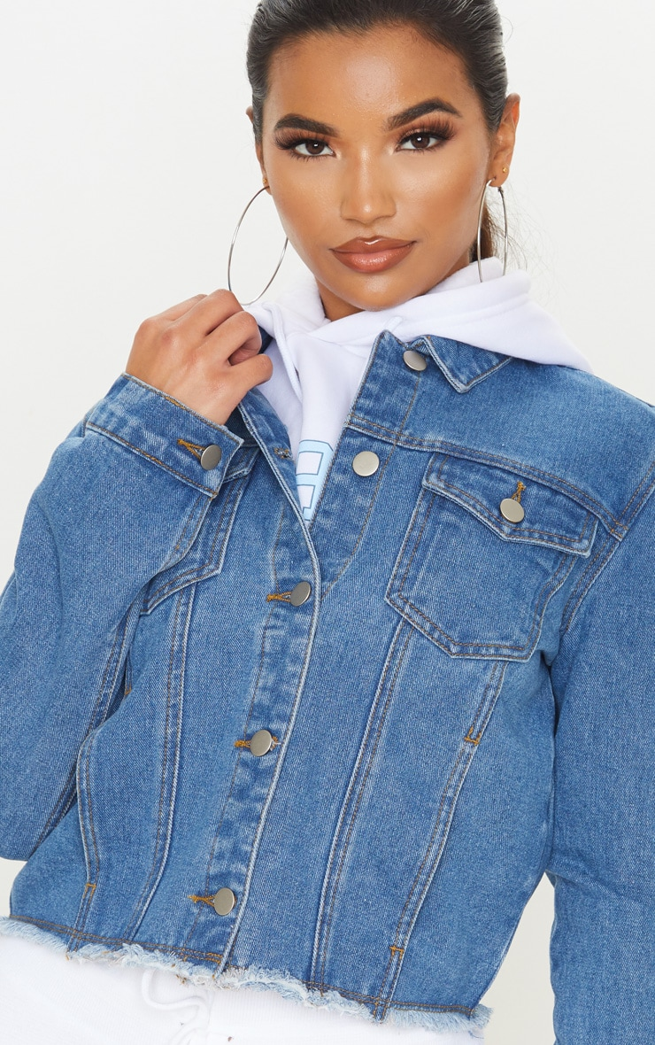 Mid Wash Basic Raw Hem Cropped Denim Jacket 5