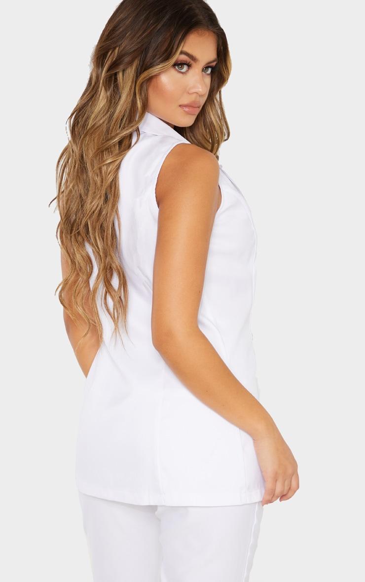 White Button Detail Longline Waistcoat 2