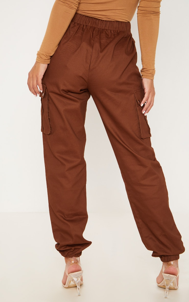 Petite Chocolate Brown Pocket Detail Cargo Trousers 4