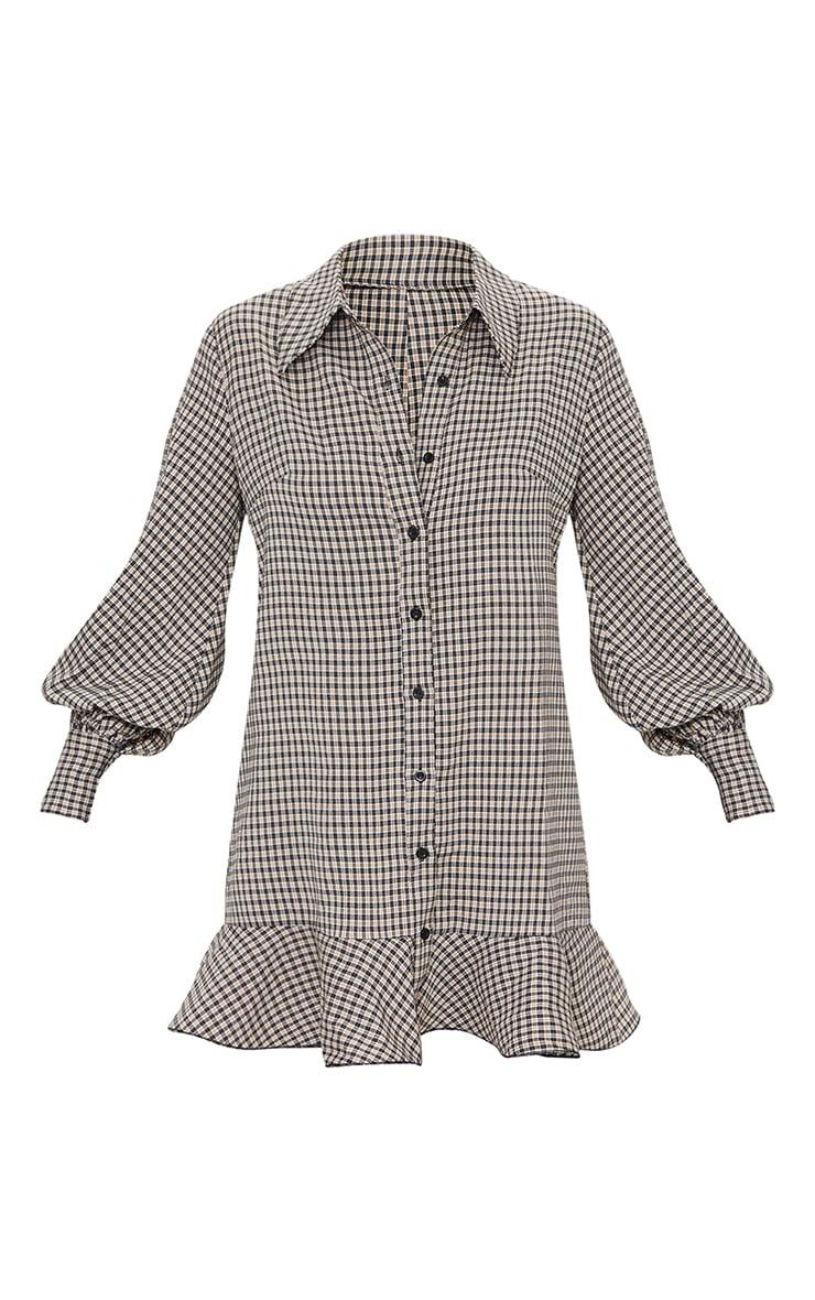 Stone Check Frill Hem Shirt Dress 5