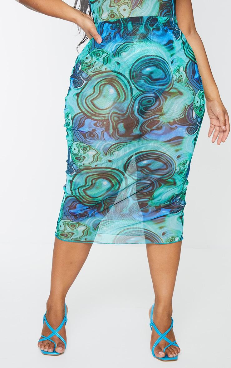 Plus Blue Marble Print Print Mesh Bodycon Midi Skirt 2