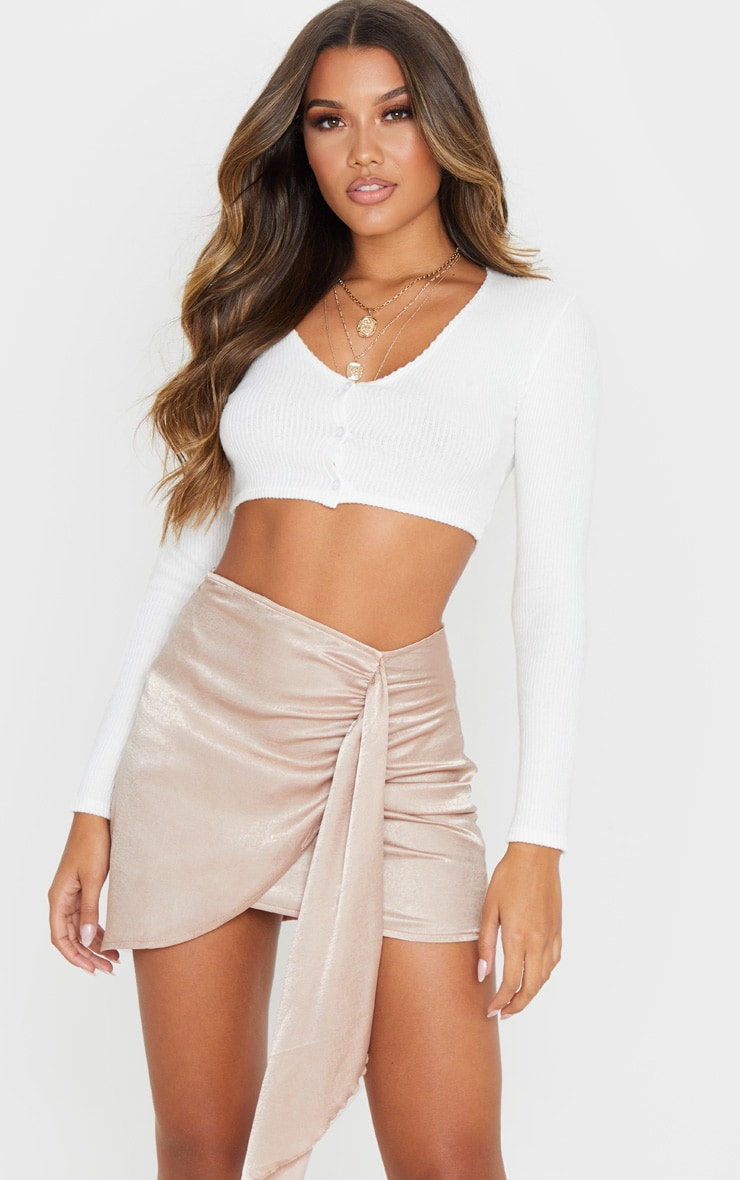 Champagne Satin Wrap Tie Detail Mini Skirt 1