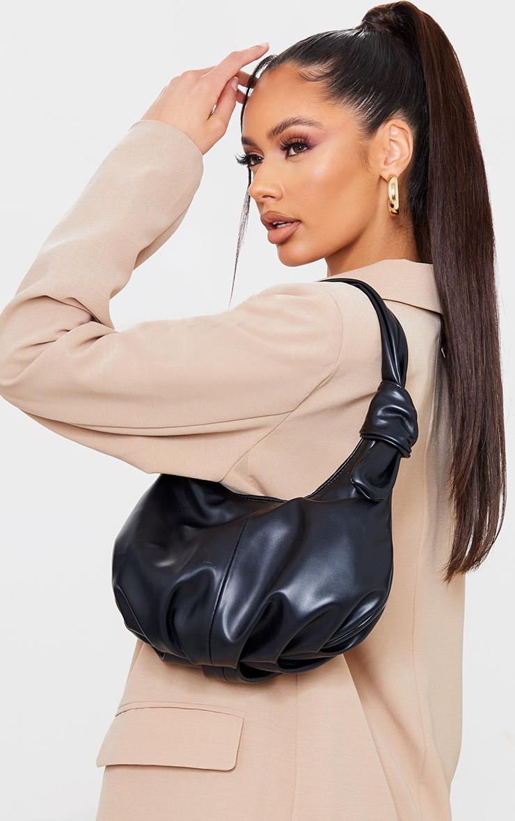 Black Double Knot Rounded Shoulder Bag 1