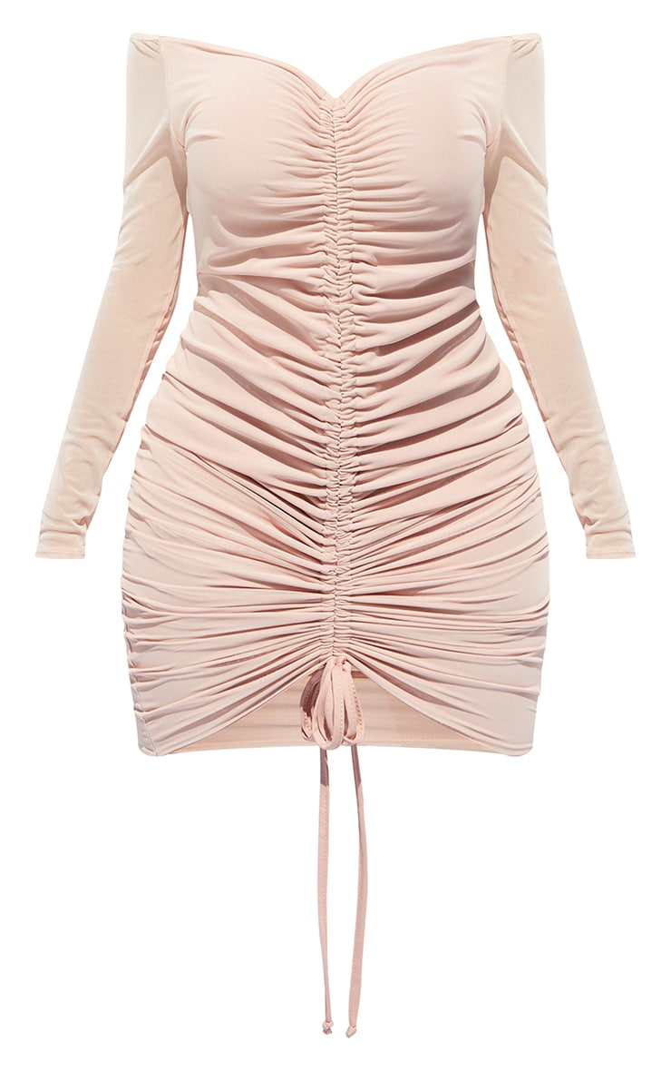 Shape Dusty Pink Mesh Ruched Bardot Midi Dress 5