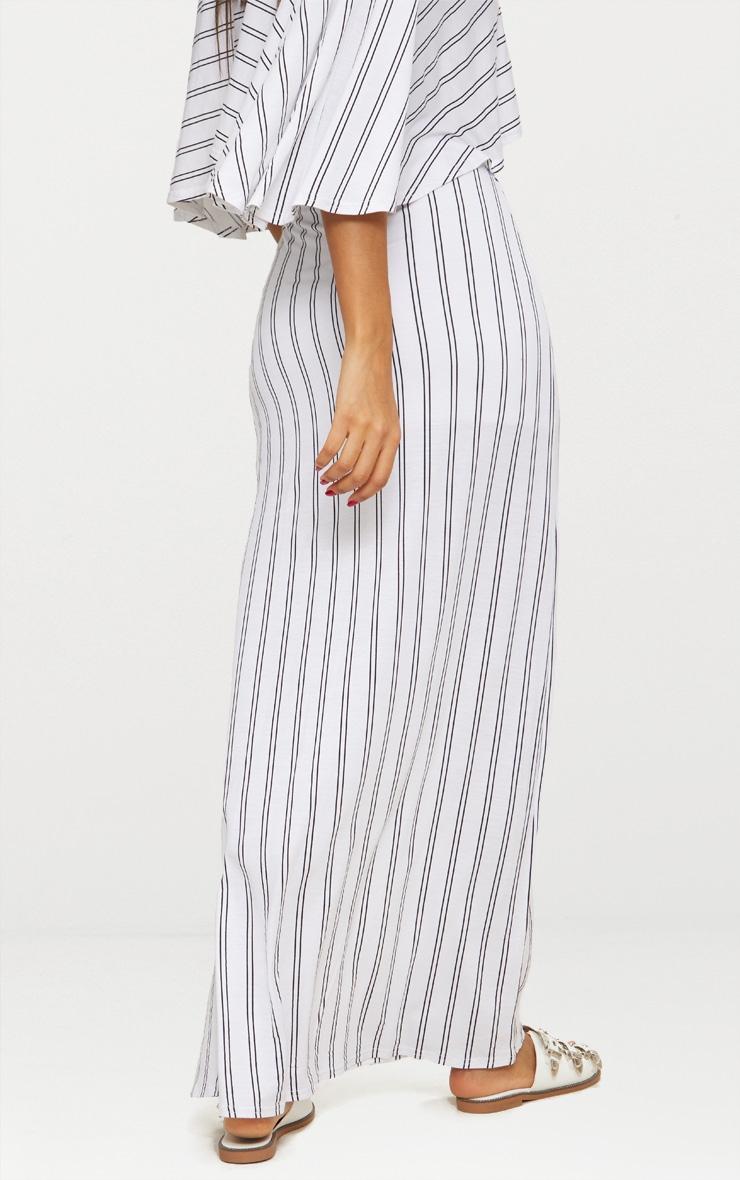 White Jersey Stripe Extreme Split Maxi Skirt  4