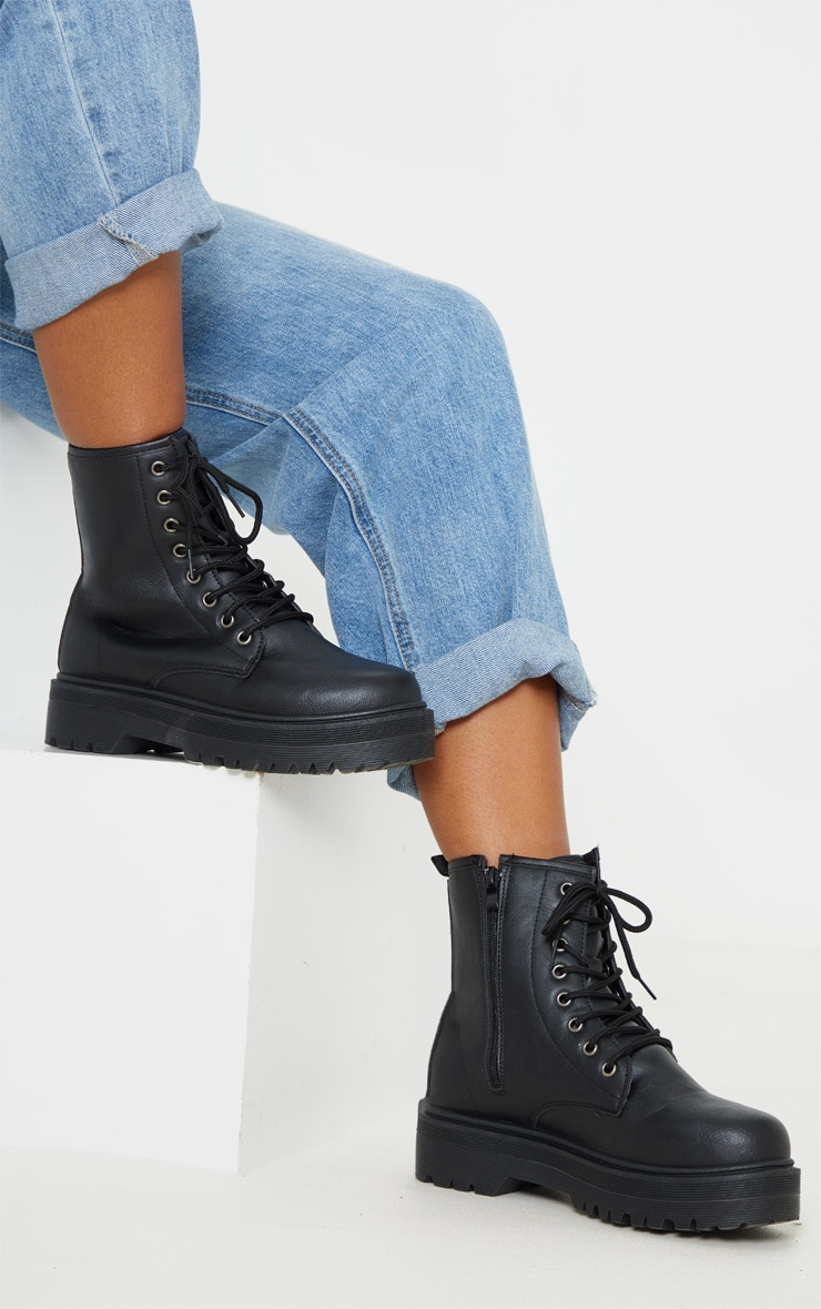 Black Lace Up Chunky Ankle Boot 1