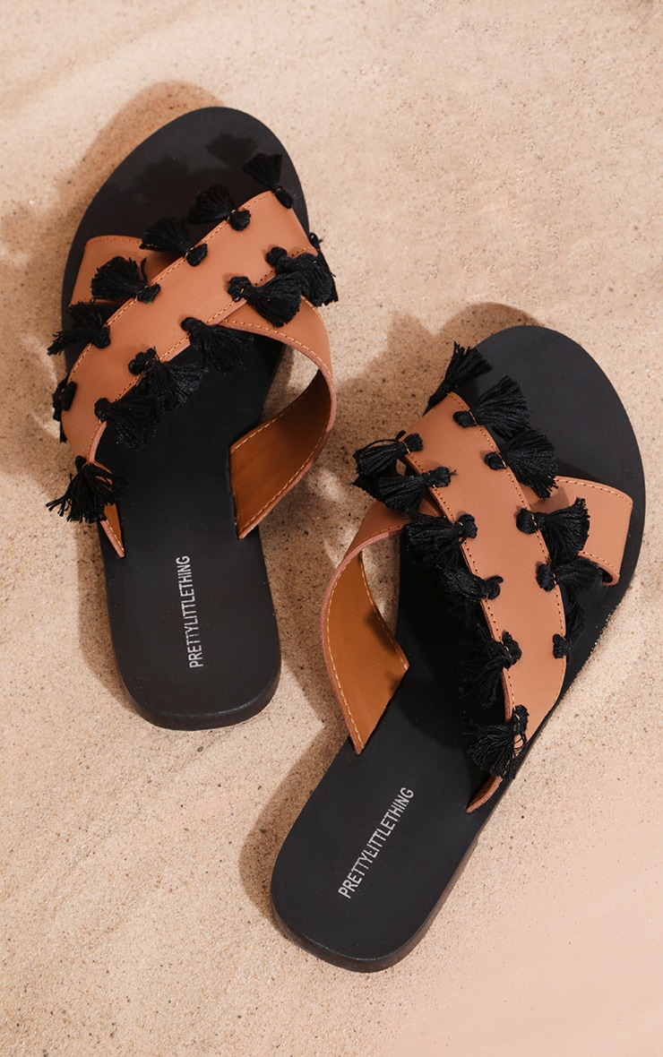 Tan Cross Strap Tassle Mule Sandal 1