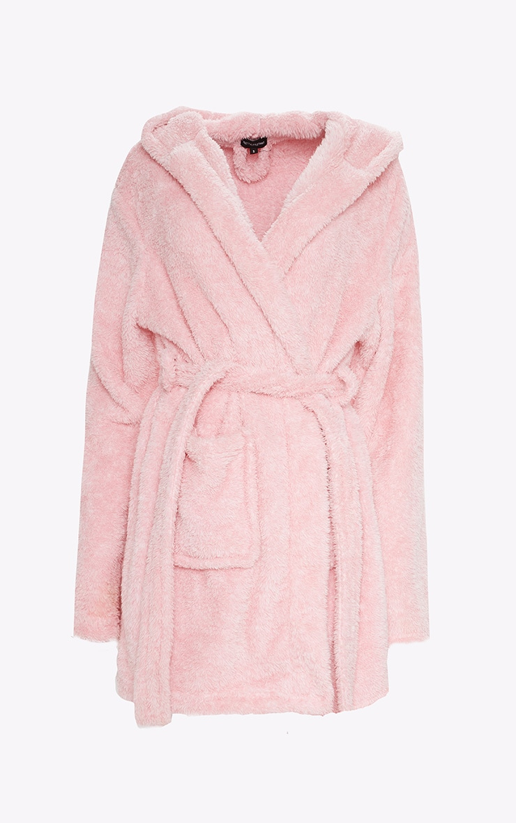 PRETTYLITTLETHING Pink Fluffy Robe 1