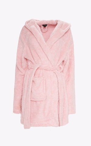 PRETTYLITTLETHING Pink Fluffy Dressing Gown image 4