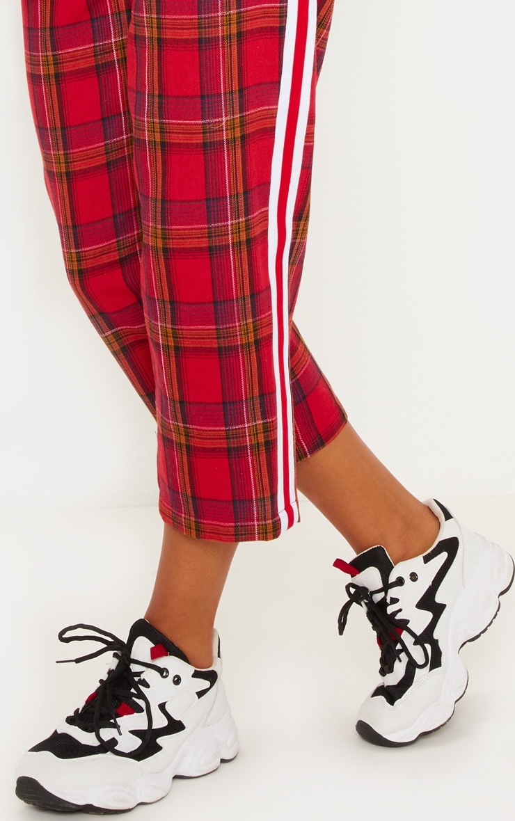 Red Side Tape Check Culotte 5