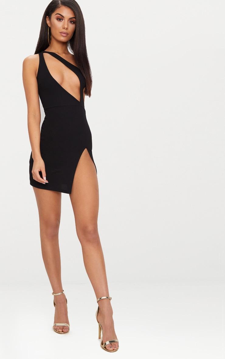 Black One Shoulder Extreme Split Detail Bodycon Dress 4